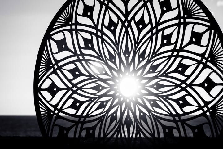 Sunscope Sunrise Mono - This sculpture created by Vesica Aotearoa is installed at Napier's waterfront each year for the Art Deco Festival.